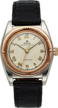 Timepieces:Wristwatch, Rolex, Oyster Perpetual Bubbleback, Stainless Steel and 18K PinkGold, Ref. 3372, Circa 1947. ...