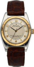 Timepieces:Wristwatch, Rolex, Oyster Perpetual Bubbleback, Stainless Steel and 18K Pink Gold, Ref. 5011, Circa 1948. ...