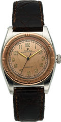 Timepieces:Wristwatch, Rolex, Oyster Perpetual Bubbleback, Stainless Steel and 18K Pink Gold, Ref. 3372, Circa 1945. ...