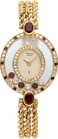 Timepieces:Wristwatch, Chopard Happy Diamonds & Rubies Gold Wristwatch. ...