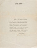 Baseball Collectibles:Others, 1927 Walter Johnson Twentieth Anniversary Signed Letter....