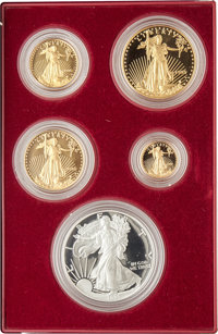 Uncertified Five-Piece 1995-W Silver Eagle and Gold Proof Set