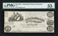 Confederate Notes:1861 Issues, T28 $10 1861 PMG About Uncirculated 55.. ...