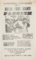 Miscellaneous:Broadside, First National Conference for a United Front Against FascismPoster. ...
