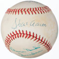 Autographs:Baseballs, Hall of Fame Multi-Signed Baseball: Aaron, Mays, Snider, & Musial (4 Signatures)....