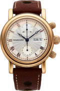 Timepieces:Wristwatch, Tourneau, Automatic Day/Date Chronograph, 18K Rose Gold, Ref. 8121.07, Circa 2000s. ...