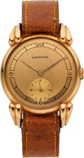 Timepieces:Wristwatch, Longines 18k Gold Wristwatch, Fancy Lugs, circa 1940's. ...