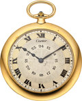 """Timepieces:Pocket (post 1900), Cartier """"Knife Edge"""" 18k Gold Watch By European Watch & Clock Co. . ..."""