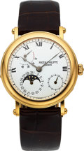Timepieces:Wristwatch, Patek Philippe, Superlative Power Reserve Moonphase, 18K Yellow Gold, Officers Case, Ref. 5054, Circa 2000s. ...