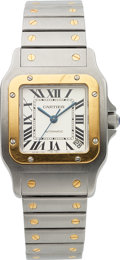 Timepieces:Wristwatch, Cartier, Santos Galbee Automatic, Stainless Steel and 18K Yellow Gold, Ref. 2823, Circa 2000s. ...