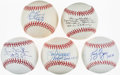 Autographs:Baseballs, Perfect Game Inscribed Single Signed Baseball Lot of 5 with Barker, Browning, Bunning, Haddix, & Rogers....