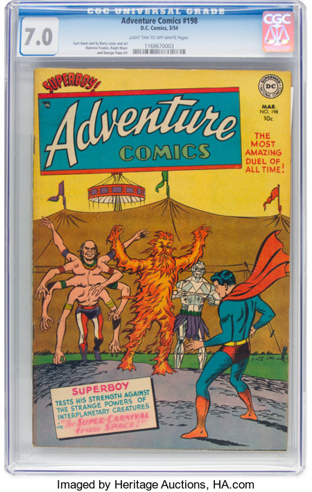 Adventure Comics #198 (DC, 1954) CGC FN/VF 7.0 Light tan to off-white pages....