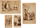 Photography:Cabinet Photos, Two Illustrated Cabinet Cards with Two Cartes de Visite....