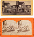 Photography:Stereo Cards, Two Stereoviews of a Slave Mart and Contrabands.... (Total: 2 Items)