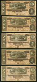 Confederate Notes:1864 Issues, T68 $10 1864, Five Examples Very Fine or Better.. ... (Total: 5 notes)