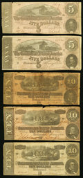 Confederate Notes:1864 Issues, T68 $10 1864 (10);. T69 $5 (2).. Very Good or Better.. ... (Total: 14 notes)