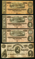 Confederate Notes:1864 Issues, T65 $100 1864;. T68 $10 1864 (3).. Fine-Very Fine or Better.. ... (Total: 4 notes)