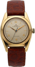 Timepieces:Wristwatch, Rolex, Oyster Perpetual Bubbleback, 14K Yellow Gold, Ref. 3131, Circa 1946. ...