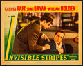 """Movie Posters:Crime, Invisible Stripes (Warner Brothers, 1939). Very Fine. Lobby Card (11"""" X 14""""). Crime.. ..."""