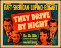 "Movie Posters:Drama, They Drive by Night (Warner Brothers, 1940). Fine/Very Fine. Linen Finish Title Lobby Card (11"" X 14""). Drama.. ..."