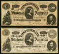 Confederate Notes:1864 Issues, T65 $100 1864 PF-2 Cr. 493 Very Fine-Extremely Fine;. T65 $100 1864 PF-3 Cr. 494 Very Fine-Extremely Fine.. ... (Total: 2 notes)