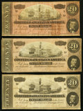 Confederate Notes:1864 Issues, T67 $20 1864, Three Examples Fine or Better.. ... (Total: 3 notes)