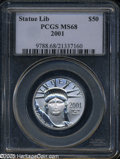 Modern Bullion Coins: , 2001 P$50 Half-Ounce Platinum Eagle MS68 PCGS. ...