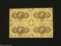 Fractional Currency:First Issue, Fr. 1230 5c Block of Four First Issue Choice About New....