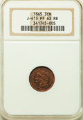 1865 3C Three Cents, Judd-413, Pollock-484, R.5, PR63 Red and Brown NGC. NGC Census: (2/9). PCGS Population: (2/6). ...(...
