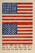 Fine Art - Work on Paper:Print, Jasper Johns (b. 1930). Two Flags (Whitney Anniversary),1980. Lithograph in colors on Arches 88 paper. 44-1/4 x 28-3/4 ...