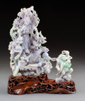 Carvings, A Chinese Carved Jadeite Guanyin Figure on Stand in Original Fitted Box. 10-1/2 x 8-1/2 x 4-1/2 inches (26.7 x 21.6 x 11.4 c...