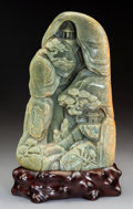 Carvings, A Chinese Hardstone Carving on Stand. 10-1/2 x 6-3/4 x 2-5/8 inches (26.7 x 17.1 x 6.7 cm). PROPERTY FROM A BEVERLY HILLS ...