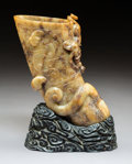 Carvings, A Chinese Carved Hardstone Horn-Form Libation Cup with Stand in Original Fitted Box. 8-3/8 x 6 x 3-1/4 inches (21.3 x 15.2 x...