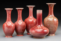 A Set of Five Chinese Peach Blossom Vases Marks: (four apocryphal Qing marks) 7-3/8 x 3-5/8 inches (18.7 x 9.2