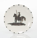 Prints & Multiples, Pablo Picasso (1881-1973). Picador, 1952. White earthenware ceramic plate with black oxide and white glaze. 7-3/4 inch (...