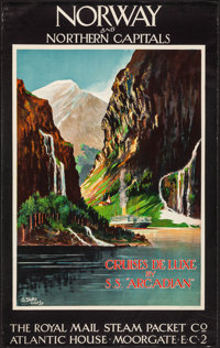 """Norway and Northern Capitals: Cruises De Luxe by S.S. """"Arcadian"""" (The Royal Mail Steam Packet Co., 1922). Roll..."""