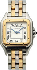 Timepieces:Wristwatch, Cartier, Panthere, Stainless Steel and 18K Yellow Gold, Quartz,Ref. 1100, Circa 1990s. ...