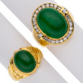 Estate Jewelry:Rings, Gentleman's Jadeite Jade, Diamond, Gold Rings. ... (Total: 2 Items)
