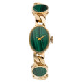 Estate Jewelry:Watches, Swiss Lady's Malachite, Gold Watch. ...