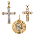 Estate Jewelry:Pendants and Lockets, Diamond, Silver Coin, Gold Pendants. ... (Total: 3 Items)