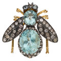 Estate Jewelry:Brooches - Pins, Aquamarine, Diamond, Silver Brooch. ...