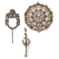 Estate Jewelry:Brooches - Pins, Diamond, Enamel, Gold, Silver-Topped Gold Brooches. ... (Total: 3 Items)