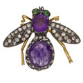 Estate Jewelry:Brooches - Pins, Diamond, Amethyst, Tsavorite, Silver-Topped Gold Brooch. ...