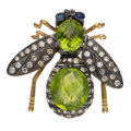 Estate Jewelry:Brooches - Pins, Diamond, Peridot, Sapphire, Silver-Topped Gold Brooch . ...