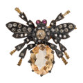 Estate Jewelry:Brooches - Pins, Sapphire, Diamond, Spinel, Silver-Topped Gold Brooch. ...