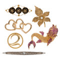 Estate Jewelry:Brooches - Pins, Multi-Stone, Cultured Pearl, Seed Pearl, Gold Jewelry. ... (Total:6 Items)