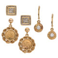 Estate Jewelry:Earrings, Diamond, Gold Coin, Gold Earrings. ... (Total: 3 Items)