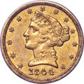 1844-D $5 XF40 PCGS. Gold CAC. Large D, Unlisted Variety....(PCGS# 8221)