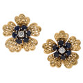 Estate Jewelry:Earrings, Sapphire, Diamond, Platinum, Gold Earrings, French. ...