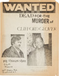 Miscellaneous:Broadside, Wanted. Dead for the Murder of Clifford Glover....